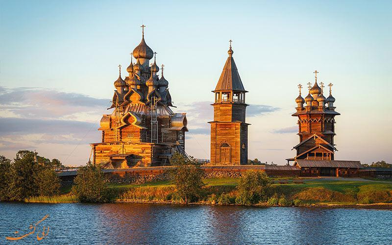 کلیساهای چوبی جزیره کیژی روسیه، سازه ای چوبی بدون میخ!